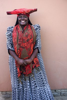 Opana dressed in traditional Herero women's clothing